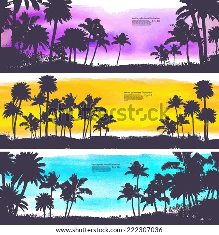 Vector Palm trees illustration for your business - stock vector