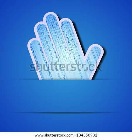 Vector palm with binary code on blue background. Eps10 illustration - stock vector