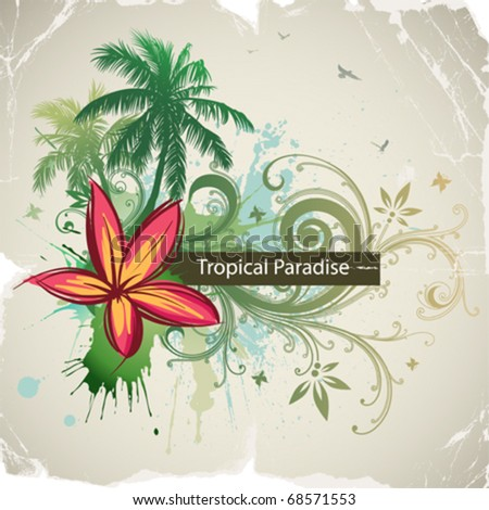 Vector palms, tropical flowers - stock vector
