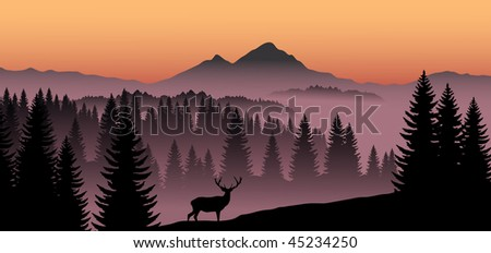 vector panorama of deer in mountains - stock vector