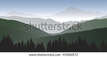 vector panorama of mountains - stock vector
