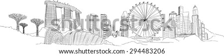 vector panoramic singapore city sketch - stock vector
