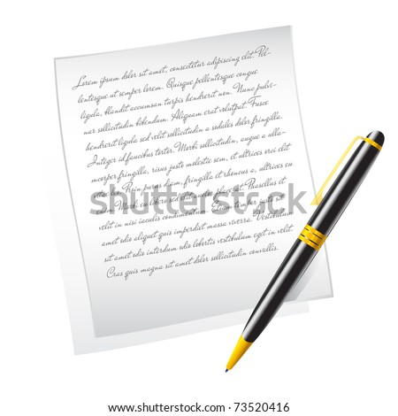 Vector paper and pen - stock vector