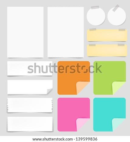 Vector paper and post-it collection - stock vector