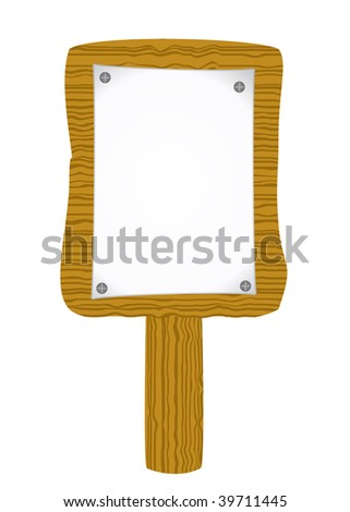 Vector paper attach to old wooden billboard - stock vector
