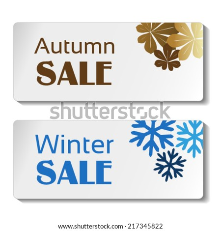 Vector paper autumn and winter sale label, white sticker with brown leaves and blue snowflakes  - stock vector