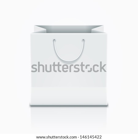 Vector paper bag illustration. Elements are layered separately in vector file. - stock vector