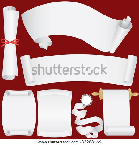 Vector paper banners, scrolls and diploma set (CMYK) - stock vector