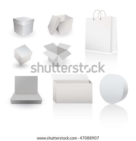 vector paper boxes and containers - stock vector