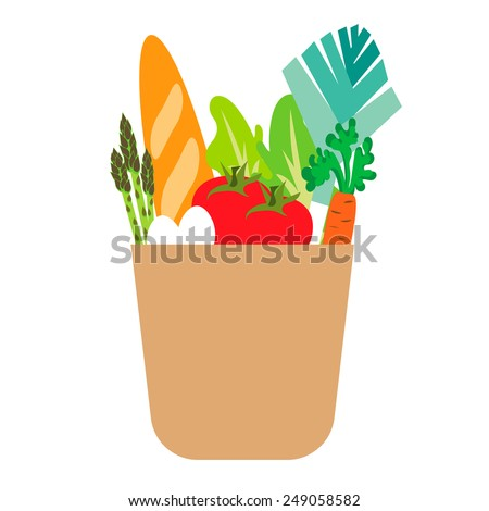 vector paper bug with food - stock vector