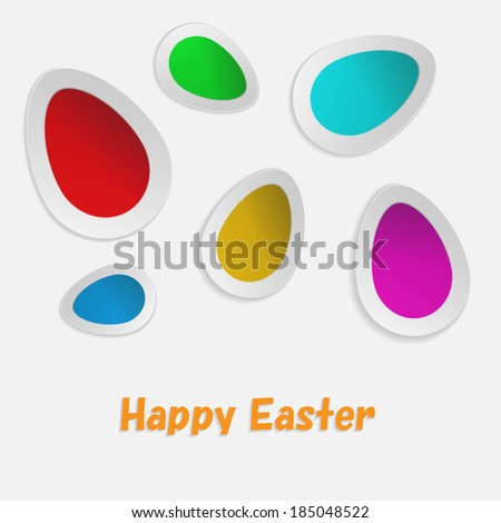 Vector paper card with easter eggs - stock vector
