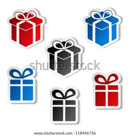 Vector paper Christmas gift, sticker - stock vector