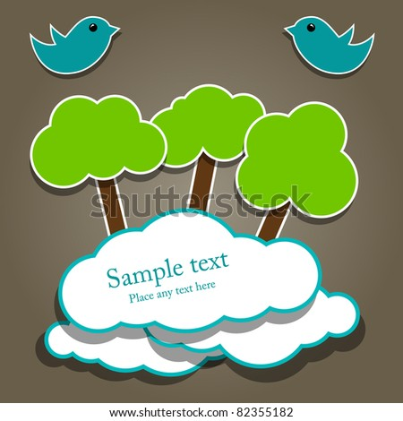 Vector paper composition with tree and birds - stock vector