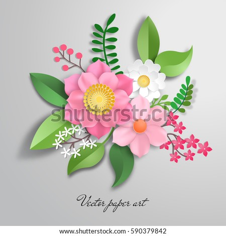Vector Paper Cut Design With Flower Composition