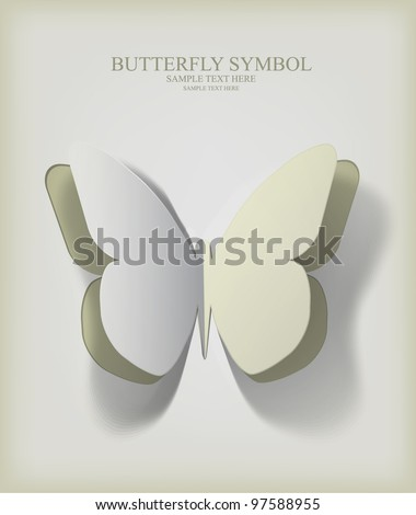 Vector  paper cut- out butterfly illustration with smooth,  the  shadows are pure vector - stock vector
