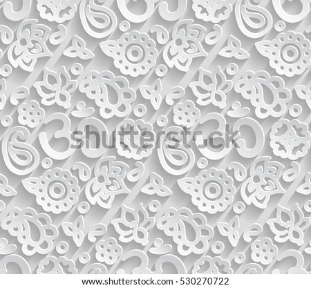 Vector paper 3D OM seamless pattern - bevel and emboss shadows effect as endless tile ornament for yoga, zen and meditation.