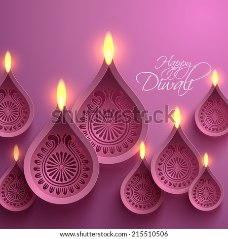 Vector Paper Diwali Diya (Oil Lamp). - stock vector