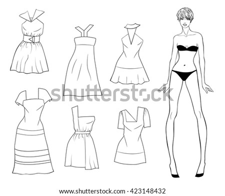 Vector Paper Doll Of A Young Beautiful Girl And Summer Clothes For Her Fashion
