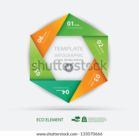 Vector paper eco and numbers design template . Vector illustration. Infographics Options. - stock vector