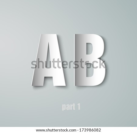 Vector Paper Graphic Alphabet A B - stock vector