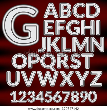 Vector Paper Graphic Alphabet  in metal style on a dark background - stock vector