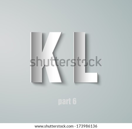 Vector Paper Graphic Alphabet K L - stock vector