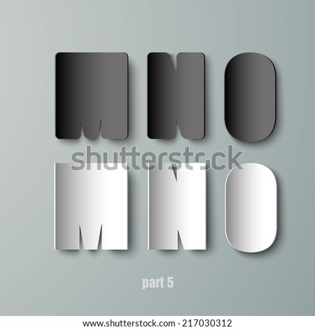 Vector Paper Graphic Alphabet white and black MNO - stock vector