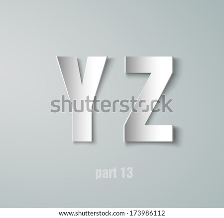 Vector Paper Graphic Alphabet Y Z - stock vector