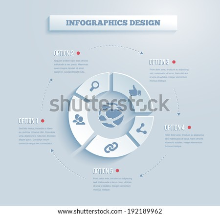 Vector paper infographics with social media and networking icons showing links  contacts  community  chat  share  search and like on five segments of a wheel with text options - stock vector