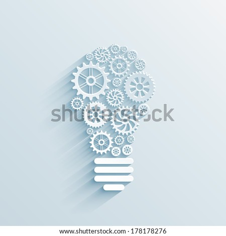 vector paper light bulb with gears and cogs, business interaction concept - stock vector