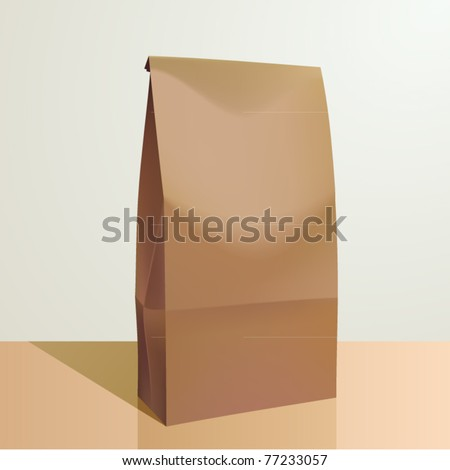 vector paper lunch bag - stock vector
