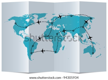 vector paper map with airplane flight paths - stock vector