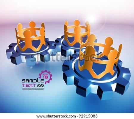 Vector Paper Men Showing Teamwork on Cogwheels - stock vector