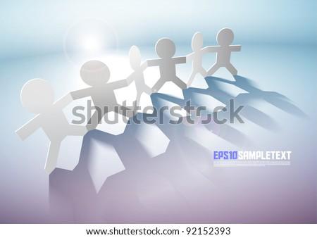 Vector Paper Men Teamwork - stock vector