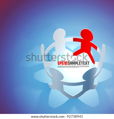 Vector Paper Men Teamwork - stock vector