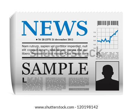 Vector paper newspaper icon on white background - stock vector