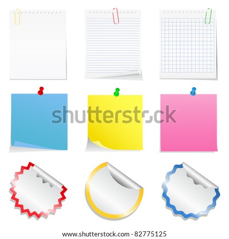 Vector paper notes and stickers - stock vector