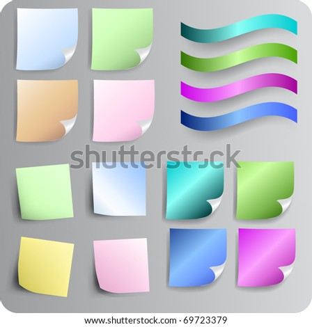 Vector paper notes different color and drop shadow - stock vector