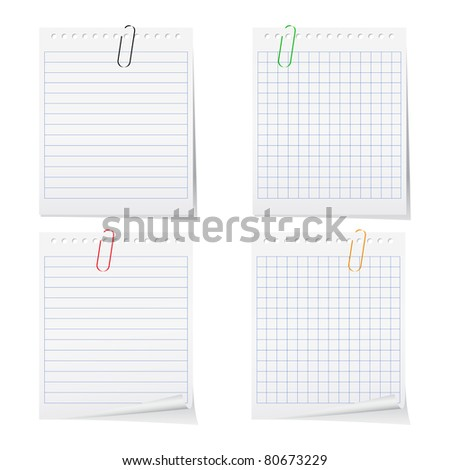 Vector paper notes with clips - stock vector