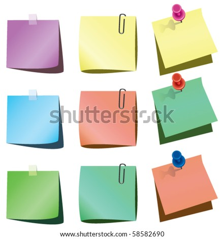 vector paper notes with push pin and paperclip - stock vector