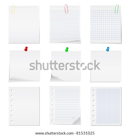 Vector paper notes with push pins and clips - stock vector