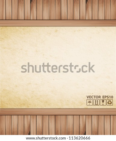 Vector Paper on wood background or texture - stock vector