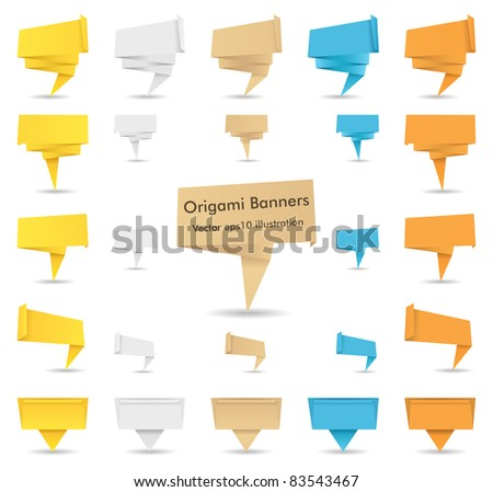 Vector Paper Origami Banners - stock vector