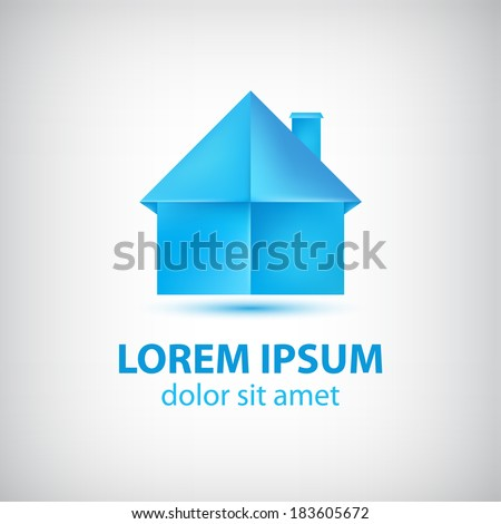 vector paper origami blue house icon, logo isolated - stock vector