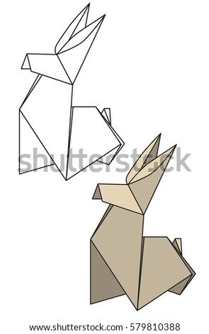 Vector Paper Origami Rabbit Contours Isolation Stock Vector