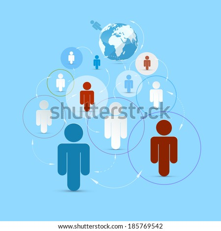 Vector Paper People in Circles - Social Media Connection Symbols - stock vector