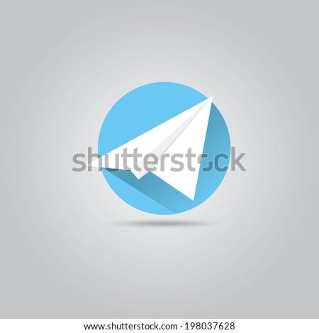 Vector Paper Plane Icon Origami Airplane Symbol With Long Shadow On Stylish Blue Sky