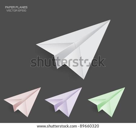 Vector Paper Planes - stock vector