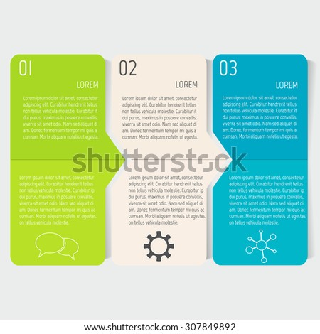 Vector paper progress steps for tutorial.  3 options infographic banner. Number banner template for diagram, graph, presentation or chart. Business concept sequence banners. EPS10 workflow layout. - stock vector