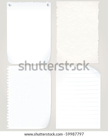 Vector Paper Sheets set - graph paper, old torn paper, notepad page, blank paper - MORE PAPER OBJECTS SEE AT MY GALLERY - stock vector